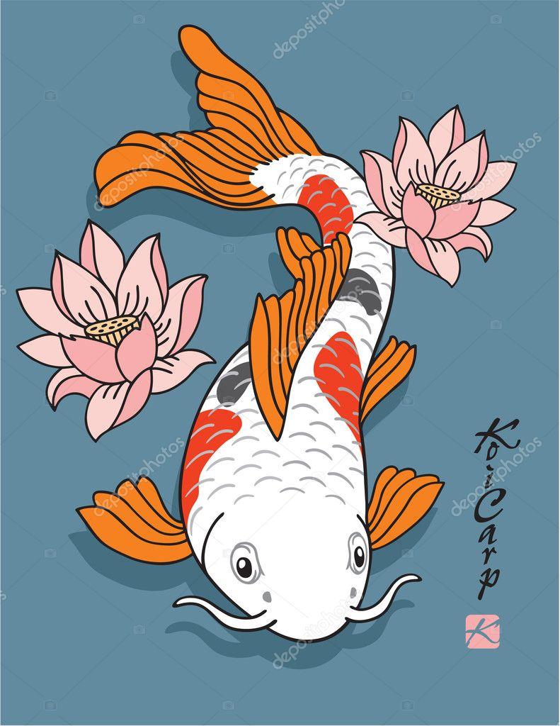 Oriental pesce carpa koi con fiori di loto for Carpa koi prezzo
