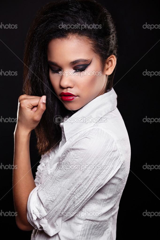 b473eb2eb Fashion portrait of beautiful american black female brunette girl model  with bright makeup red lips in