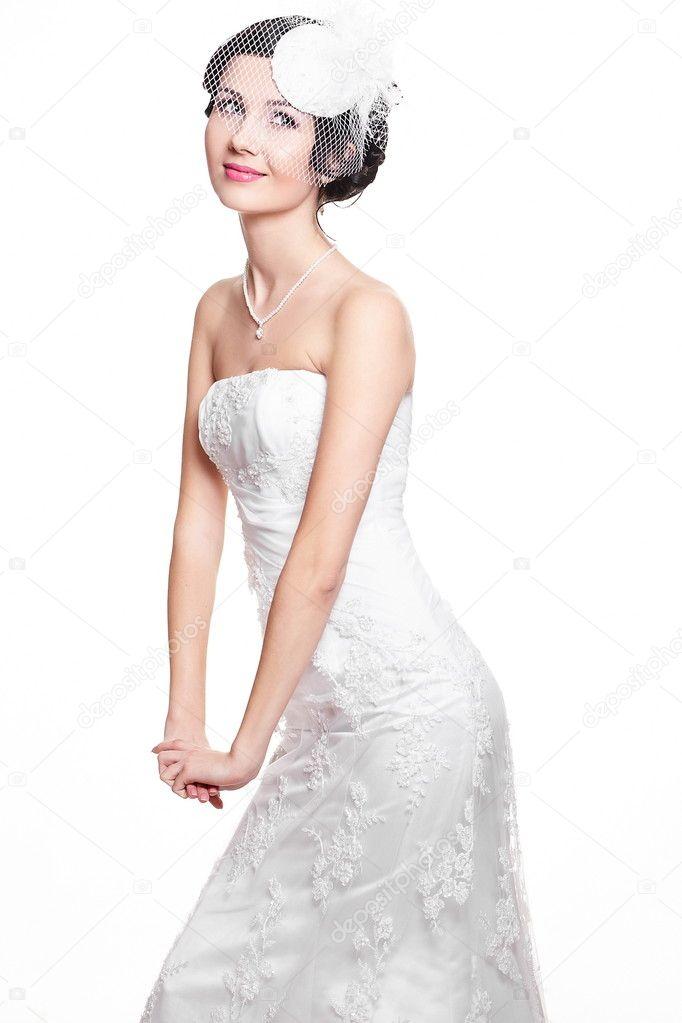 Boldog szexi gyönyörű menyasszony barna lány 61234e4439