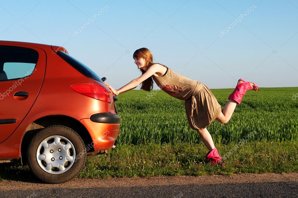 Pushing a car