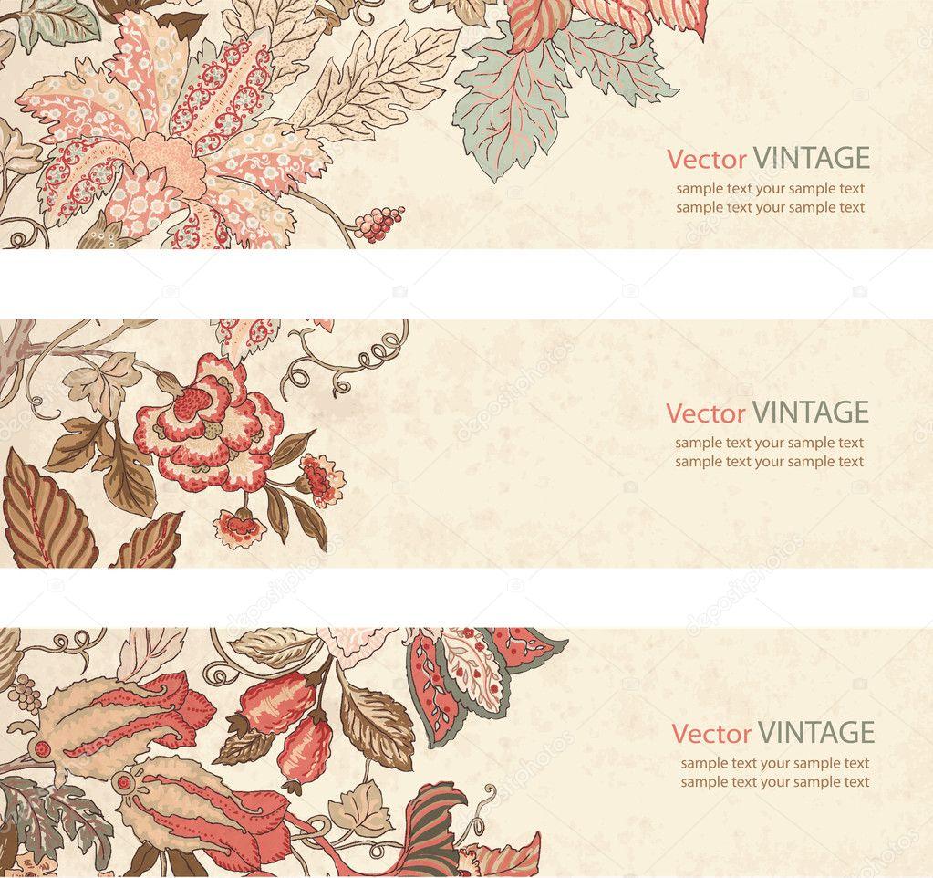 Vintage Floral banner set