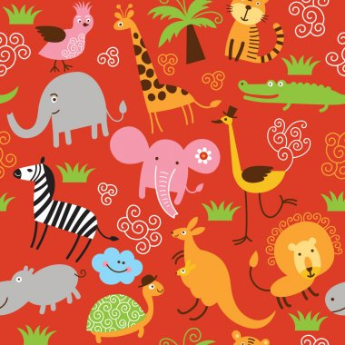 Seamless children pattern with cute animals clip art vector