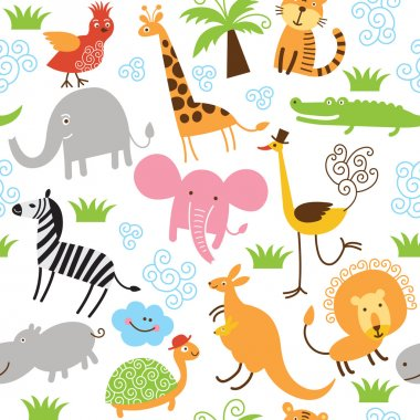 Seamless children pattern with cute animals