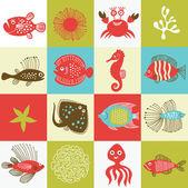 Fotografie Reihe von skurrilen Fische und Meeresbewohner