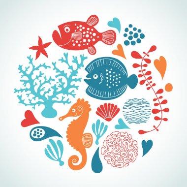 Fishes, marine life