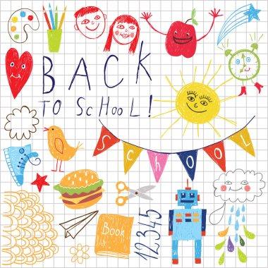 Back to school pattern, children drawing