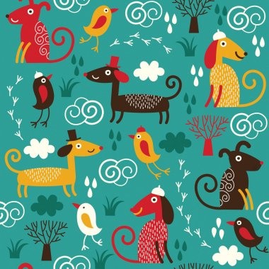 Color seamless pattern with cute dogs