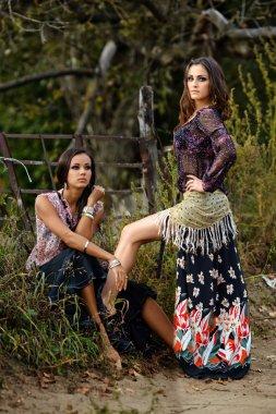 Portrait of two beautiful girls gypsy