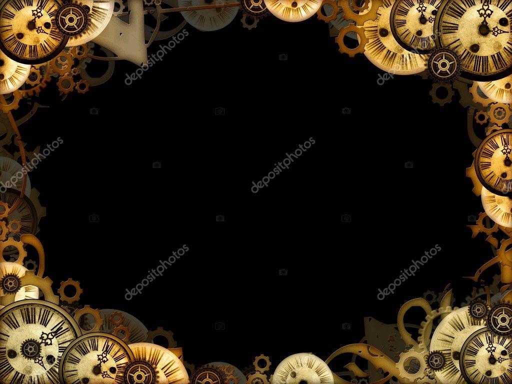 Vintage clocks black background frame