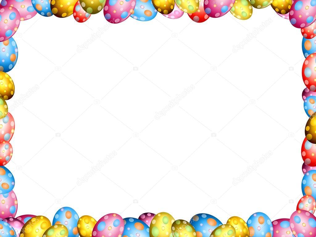 Easter Eggs Border Frame Stock Photo 9582769