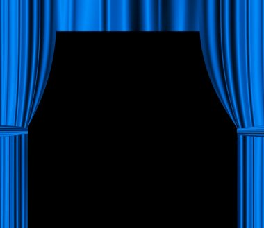 Blue theatre drapered curtain with black empty space for text