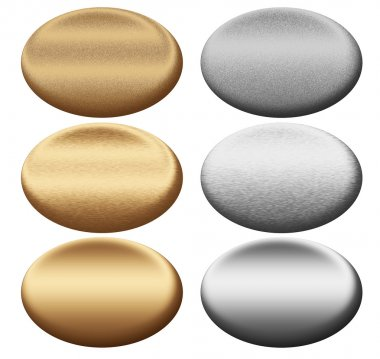 Scratched metal silver and gold oval push buttons to insert text or web des
