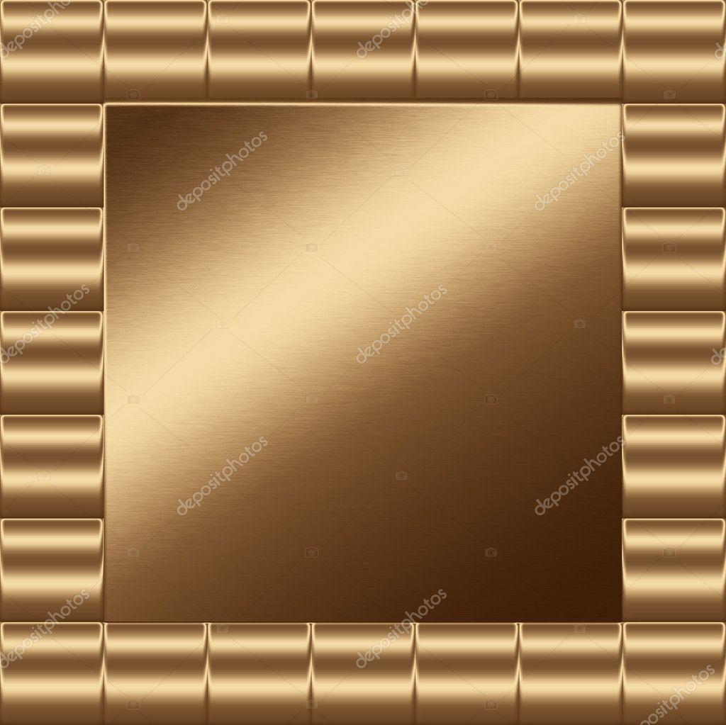 Resumen marco dorado de metal para insertar texto o diseño — Foto de ...