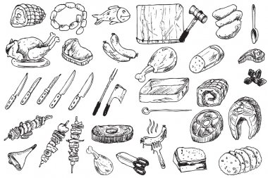Hand draw food butcher collection