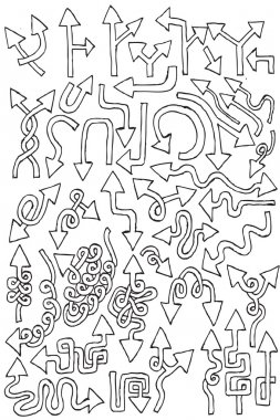 Arrows hand draw element collection clip art vector