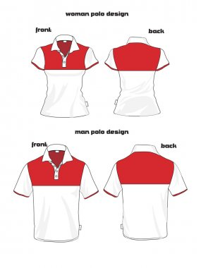 Beauty woman and man polo shirt design