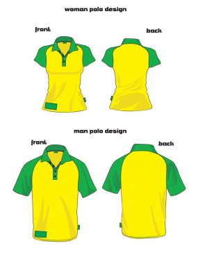 Woman and man polo shirt colored design