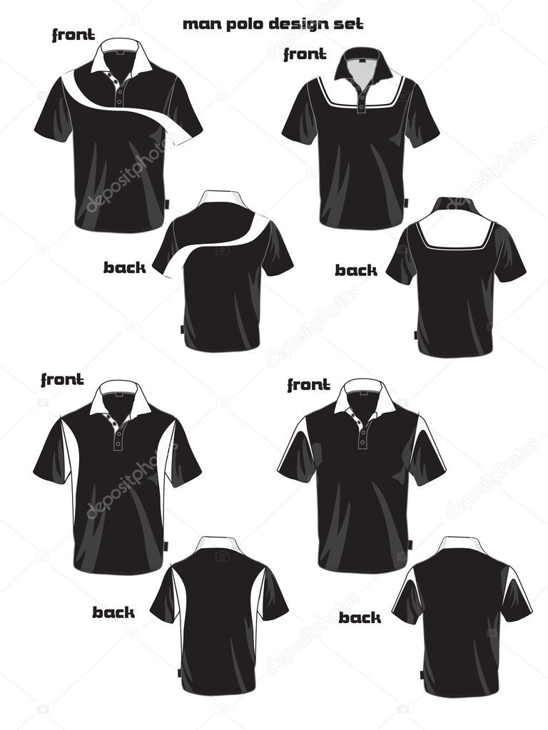 T shirt black and white designs - Black And White Man Polo Shirt Design Stock Vector 10270093