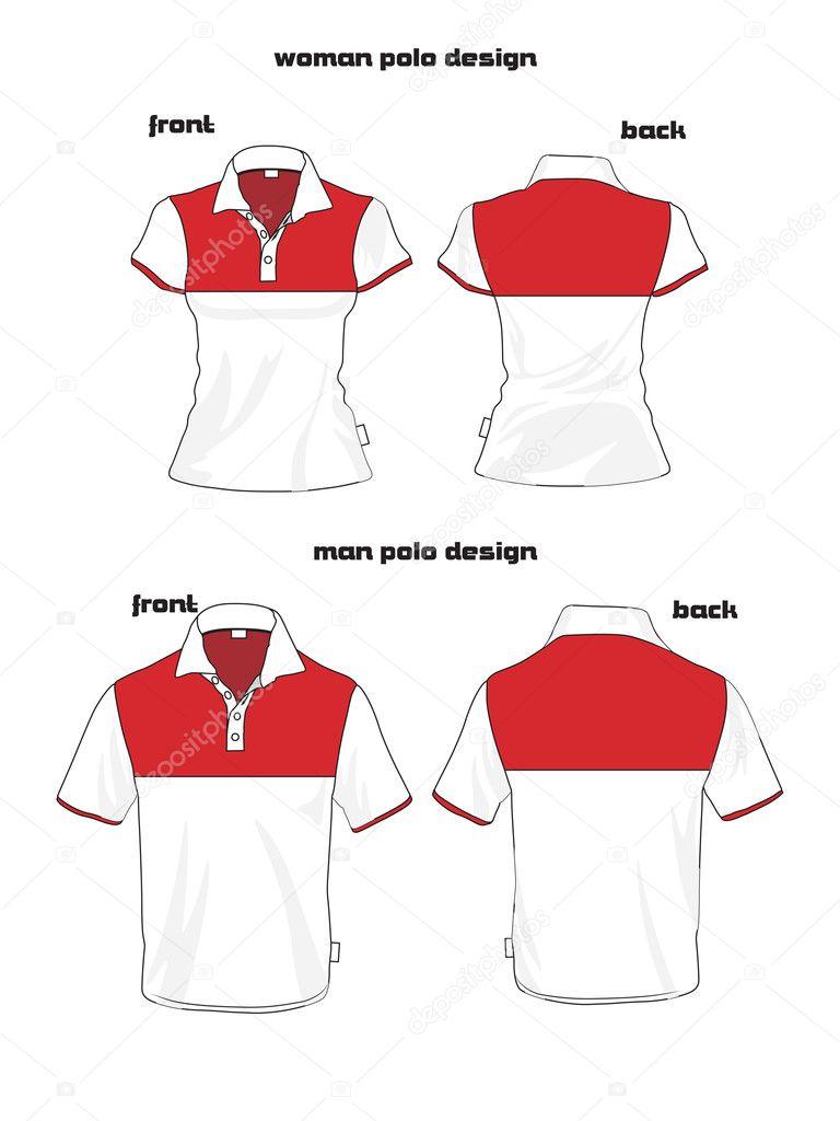 Polo shirt design vector - Beauty Woman And Man Polo Shirt Design Stock Vector 10270100