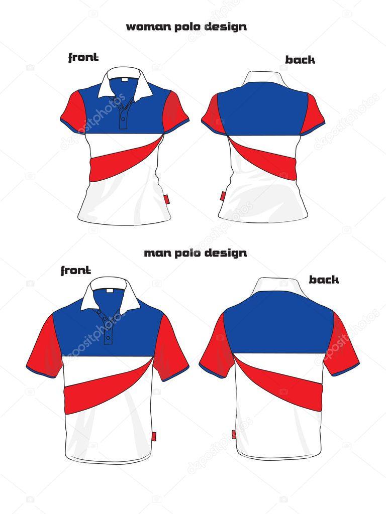 Polo shirt design vector - Beauty Woman And Man Polo Shirt Design Stock Vector 10270131