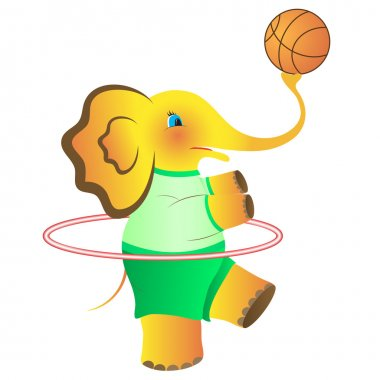 The amusing elephant with a thick stomach twists a hoop and plays a basketball ball. Vector. eps 8 stock vector