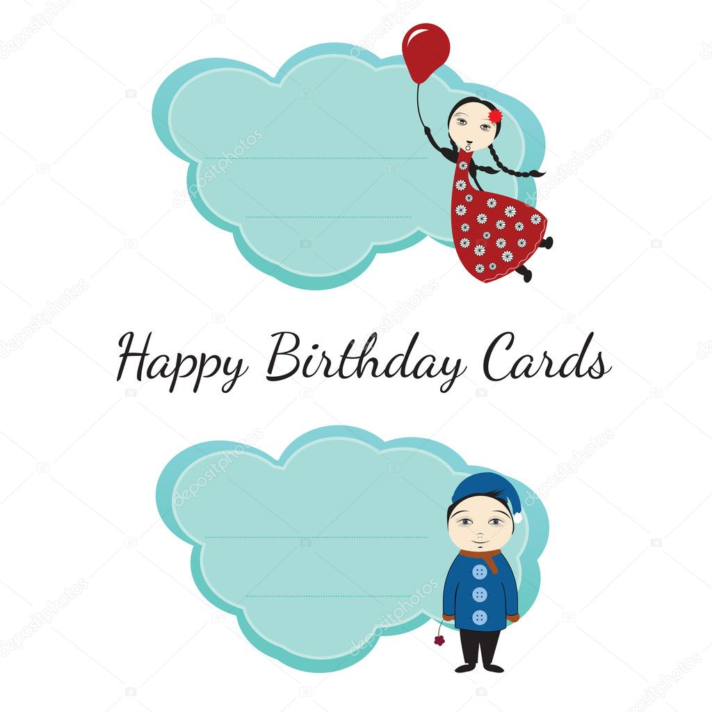 Happy Birthday Cards For Kids Stock Vector Bhary 8103806