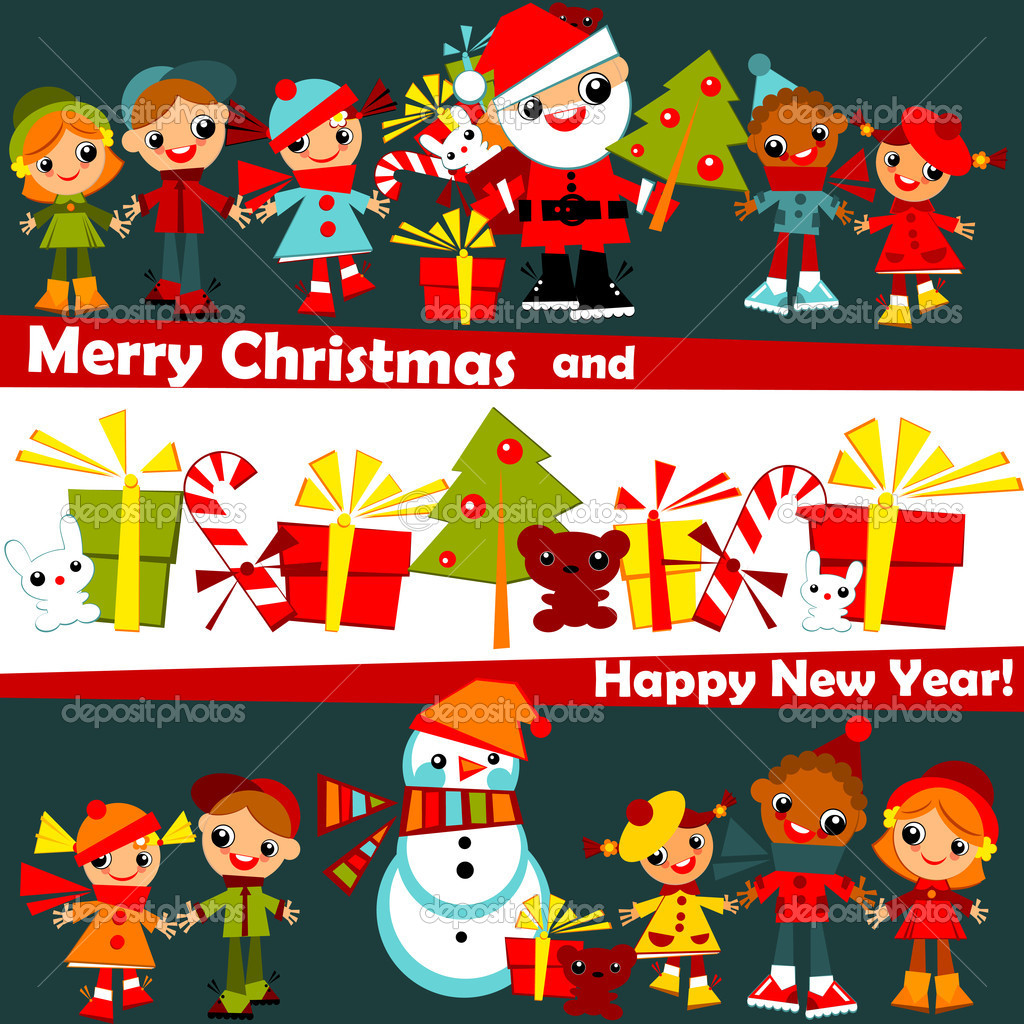 Christmas background. kids — Stock Vector © Usikova #8001359
