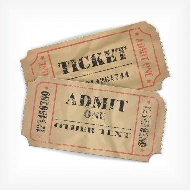 Realistic vector vintage paper tickets