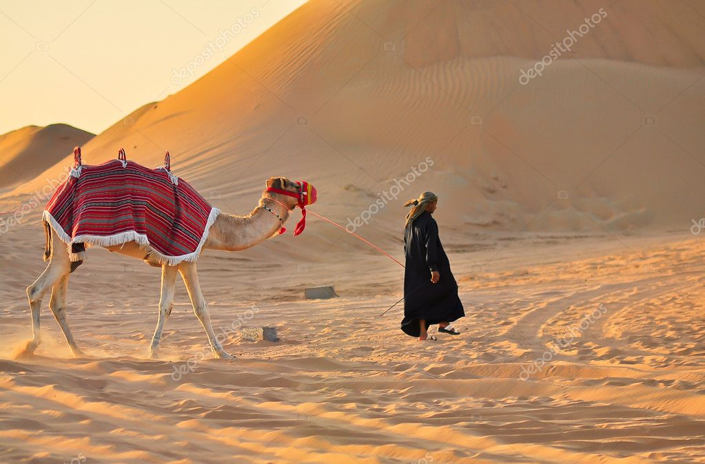 The cameleer in black with a camel in desert