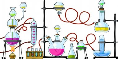 The chemical laboratory on a white background, vector stock vector
