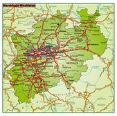 Fotografie Bundesland Nordrhein-Wesfalen-Umgebungskarte-bunt