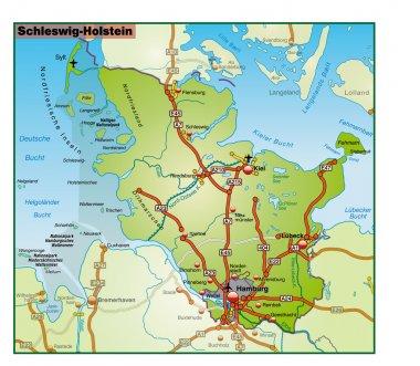 Schleswig-Holstein Umgebungskarte bunt