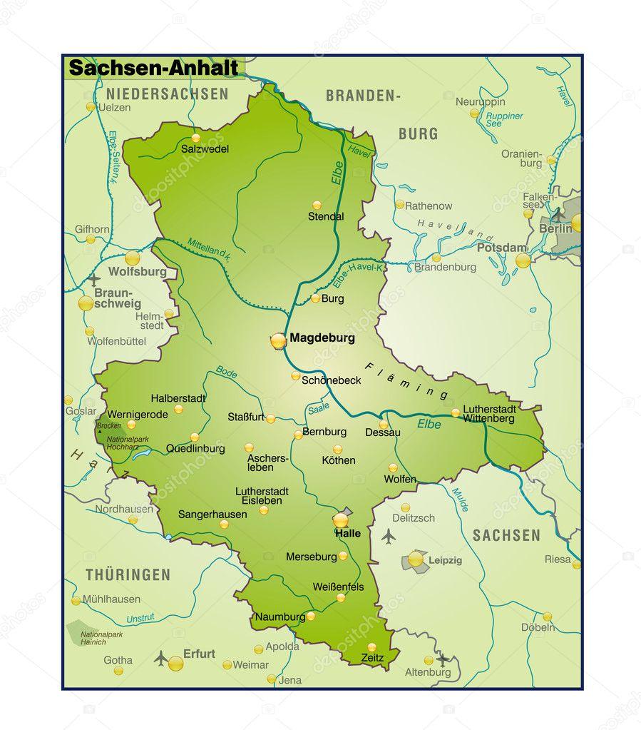 Karte Sachsen Anhalt Mit Flüssen.Sachsen Anhalt Umgebungskarte übersicht Stockvektor Artalis 8049838