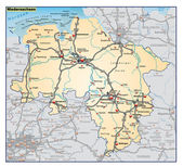 Fotografie Niedersachsen-Umgebungskarte-orange