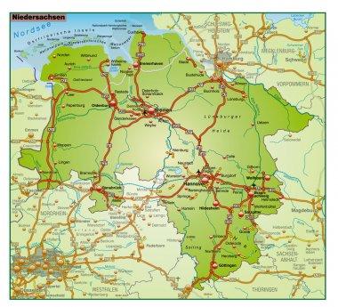 Niedersachsen Umgebungskarte bunt
