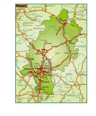 Hessen Umgebungskarte bunt