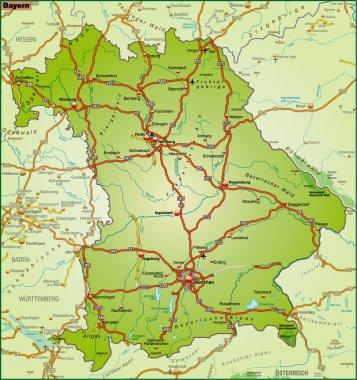 Bundesland Bayern Umgebungskarte bunt