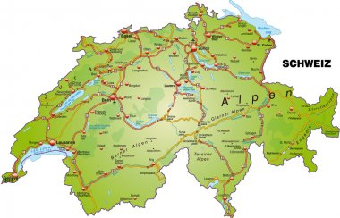 Map of swiss with highways
