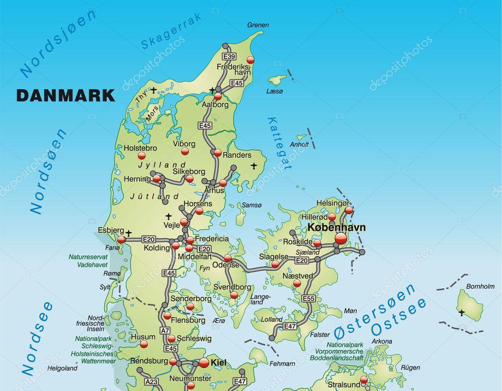 map of denmark u2014 stock photo artalis 9074877