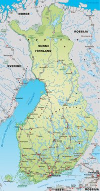 Map of Finland with neighboring countries