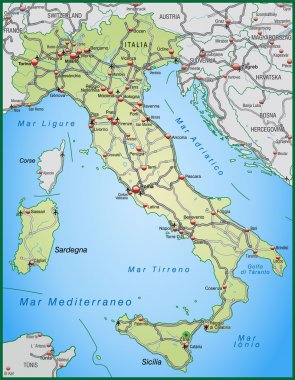 Highway Map of Italy in green