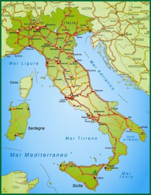 Map of Italy with highways and main cities
