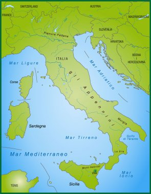 Map of Italy as an overview