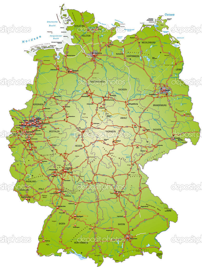 Germany Map Cities In English Map Of Germany With Highways And