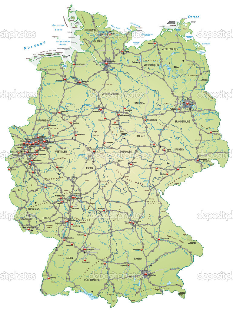 Map Of Germany With Highways Stock Vector C Artalis 9556585