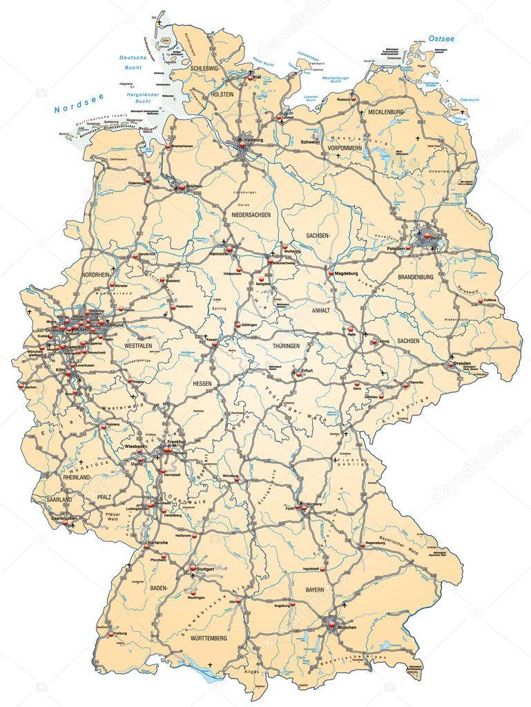 Deutschland Karte Autobahnen Und Städte.Deutschlandkarte Mit Autobahnen In Orange Stockvektor Artalis