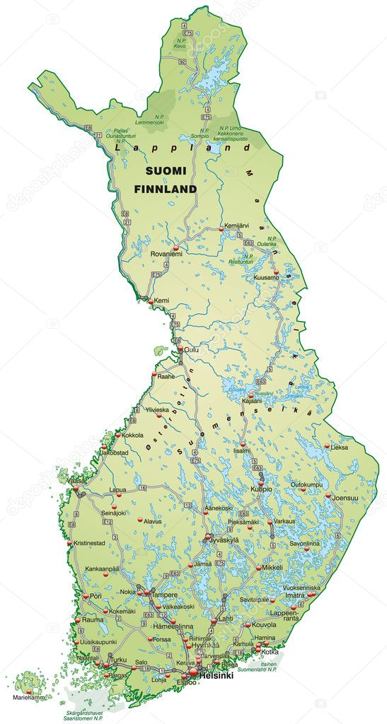 Map of Finland Stock Vector artalis 9556614