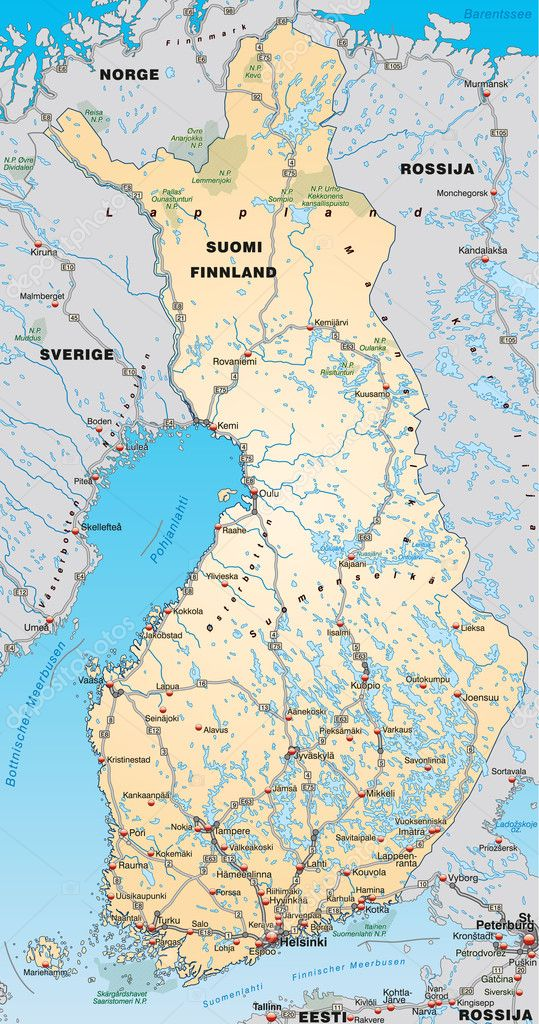 Map of Finland with neighboring countries Stock Vector artalis
