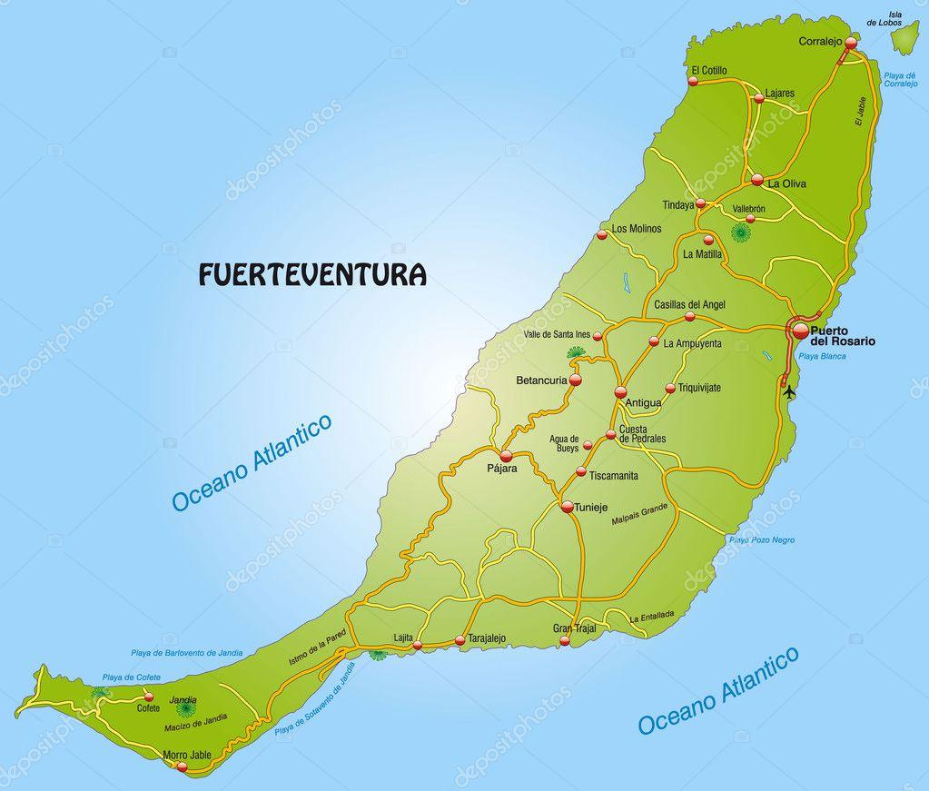 Map of Fuerteventura with highways Stock Vector artalis 9556621