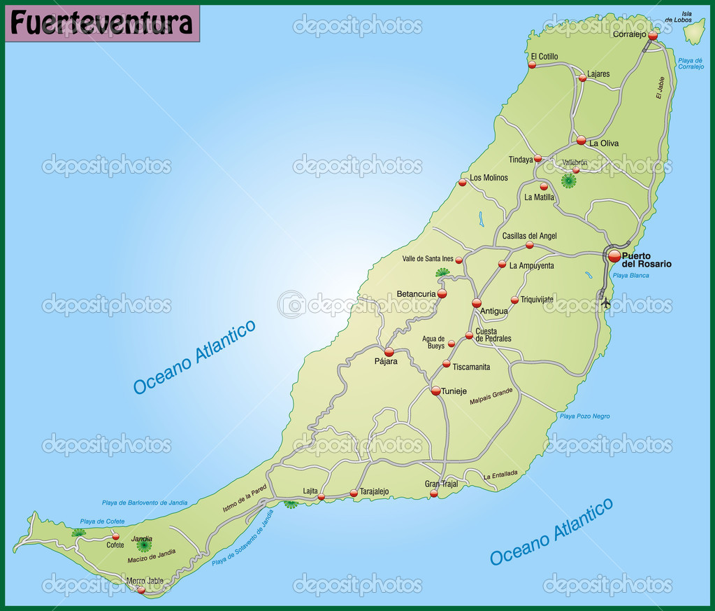 Map Of Fuerteventura With Highways And Main Cities Stock Vector